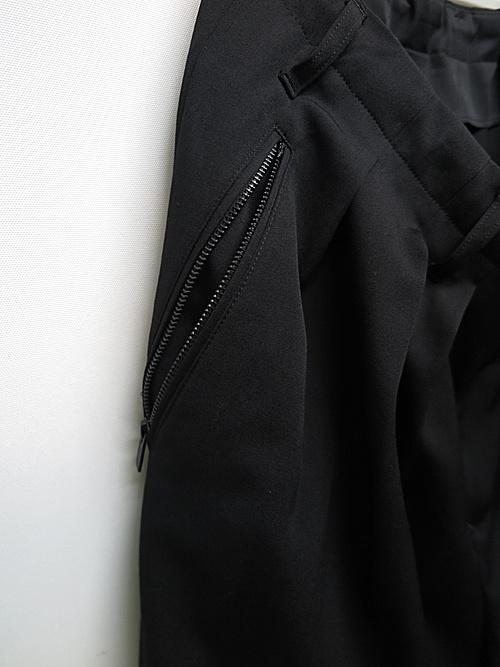 Yohji Yamamoto・ヨウジヤマモト/シワギャバO-ファスナー付きバルーンパンツ/ブラック