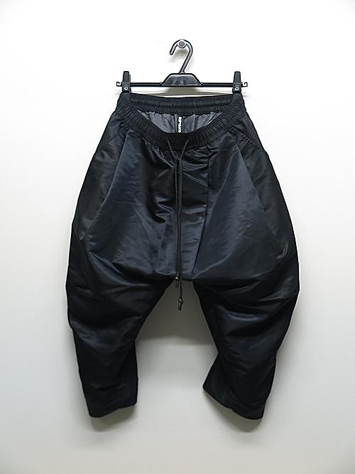 RIPVANWINKLE・リップヴァンウィンクル/ヘビーツイル SARROUEL CROPPED PANTS/BLACK