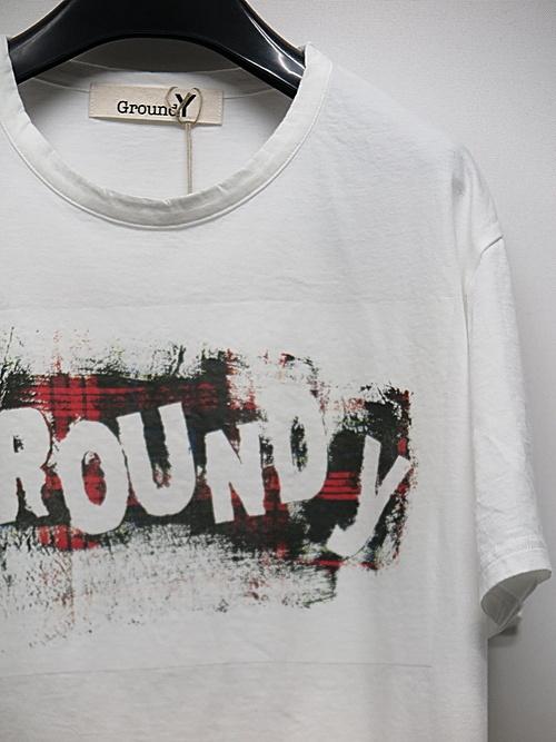 SALE40%OFF/Ground Y・グラウンドワイ・Check Logo Graphic A/WHITE.