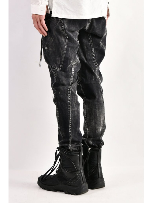 KMRii・ケムリ/Discharged Double Pocket Twill Pants 03/BLK