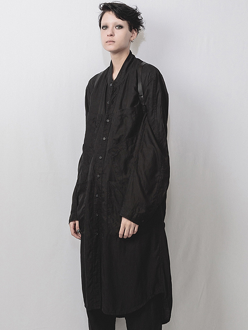 nude:masahiko maruyama ・ヌード:マサヒコマルヤマ/Cupro/Cotton/Linen Kersey Oversized Long Shirt/BLK