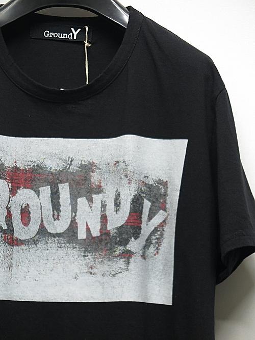 SALE40%OFF/Ground Y・グラウンドワイ・Check Logo Graphic A/BLACK.
