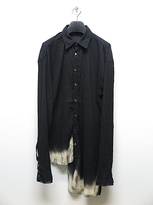 (予約品)2〜3月入荷/KMRii・ケムリ/Discharged Cotton Slash Shirt 01 / LS/BLK