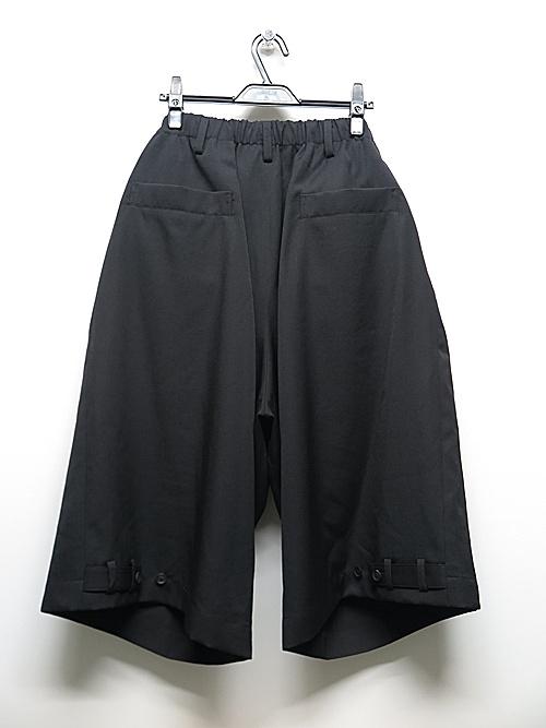 Yohji Yamamoto・ヨウジヤマモト/シワギャバ Y-ダブルベルト付きハーフパンツ/ブラック