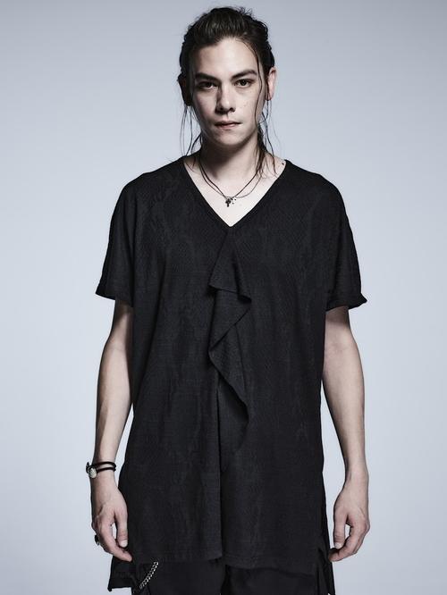 (予約品)2月入荷予定/kiryuyrik・キリュウキリュウ/Python JQD Jersey Frill V-Neck T-Shirts/Black