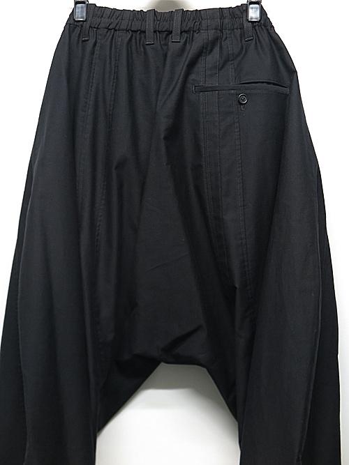Yohji Yamamoto・ヨウジヤマモト/BK・コットンツイルA-縦接ぎ裾あきパンツ/ブラック