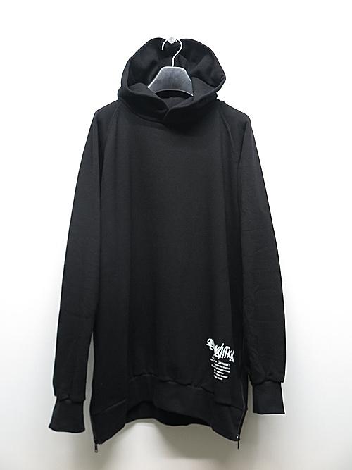 Ground Y・グラウンドワイ/Classic cotton zip Upside down YY hoodie/BLK