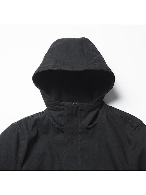 RIPVANWINKLE・リップヴァンウィンクル/アーミーウールサージ BUSTER HOODIE/BLACK