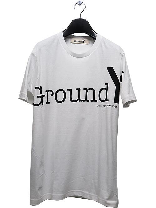 Ground Y・グラウンドワイ・5.0oz Cotton GY logo graphic カットソー/ホワイト.