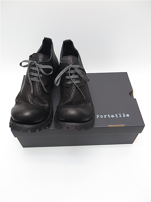 Portaille・ポルタユ/Heated shrink cow leather derby shoes/BLK