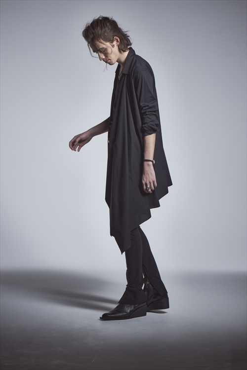kiryuyrik・キリュウキリュウ/Silky Lone Wrap Shirts/BLACK