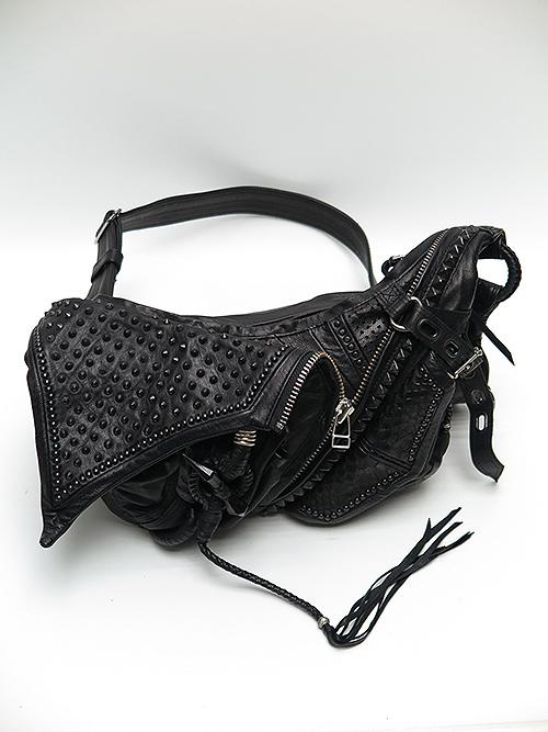 (予約品)8月入荷KMRii・ケムリ/Goat Skin Cow Leather KB- Shoulder Stingray/BLACK