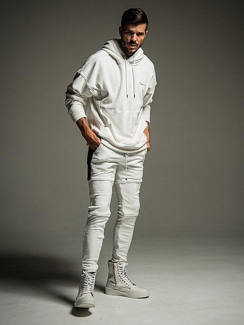 (予約品)11月入荷/22TH RESOUND CLOTHING・リサウンドクロージング/SUPER TIGHT TAPERD Double Velours fleece SLASH LINE PT/WHITE