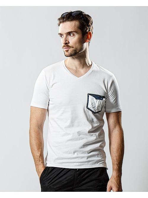wjk・ダブルジェイケイ/denim pocket-T/white
