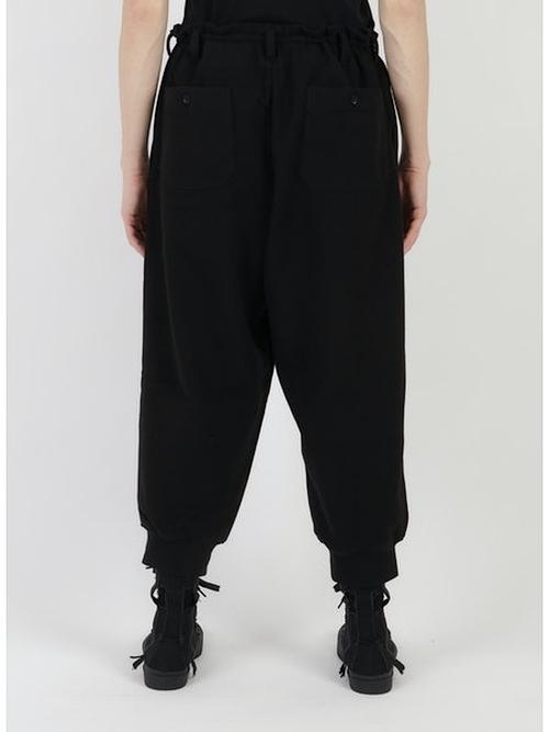 Yohji Yamamoto・ヨウジヤマモト/ビューティフル裏毛染シャーリング裾リブパンツ/ブラック