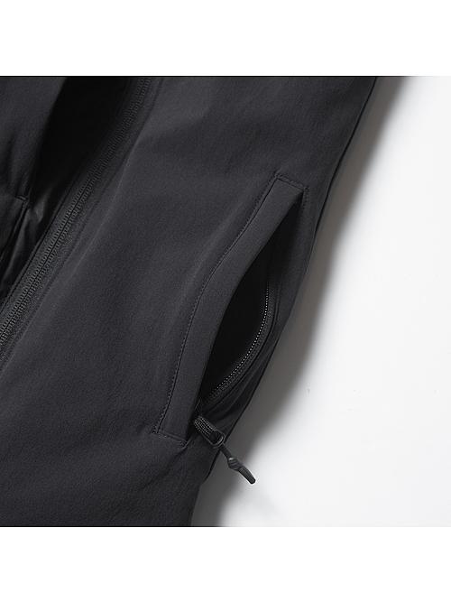 RIPVANWINKLE・リップヴァンウィンクル/ウォータープルーフ4WAYクロス タイプライターピマストレッチ SKI VEST/ALMANDINE BLACK