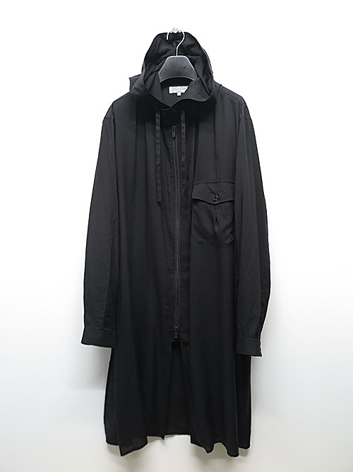 Yohji Yamamoto・ヨウジヤマモト/テンセルローンフーデットB/ブラック