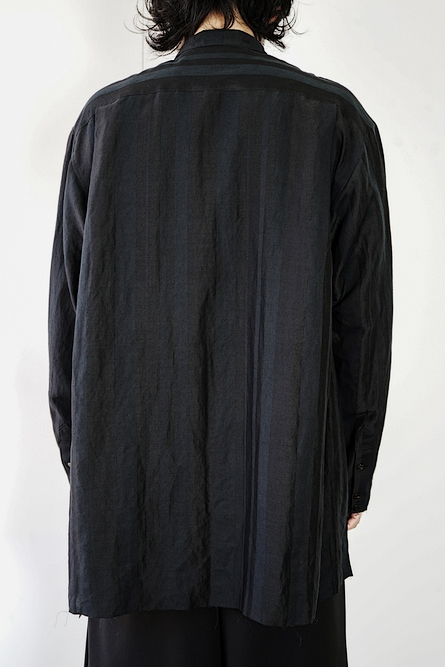 kujaku・クジャク/ramie rayon cotton azami shirt/BLK