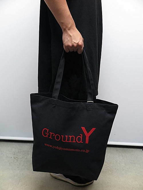 Ground Y・グラウンドワイ/Cotton canvas Logo tote bag/BLK
