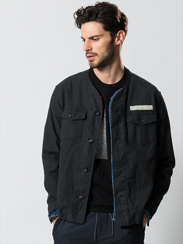 SALE40%OFF/wjk・ダブルジェイケイ/no-collar remake shirt black.