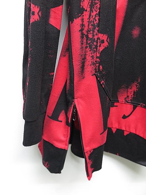 kiryuyrik・キリュウキリュウ/InkJet Fleece Zipp Hoodie/Black&Red