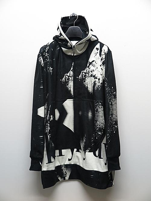 kiryuyrik・キリュウキリュウ/InkJet Fleece Zipp Hoodie/Black&White