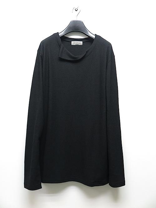Yohji Yamamoto・ヨウジヤマモト/スーパー140エアー天竺重ね衿丸首長袖・ブラック.