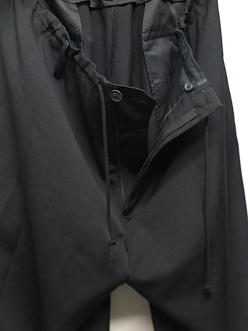 Yohji Yamamoto・ヨウジヤマモト/シワギャバ S-定番太ヒモパンツ/ブラック