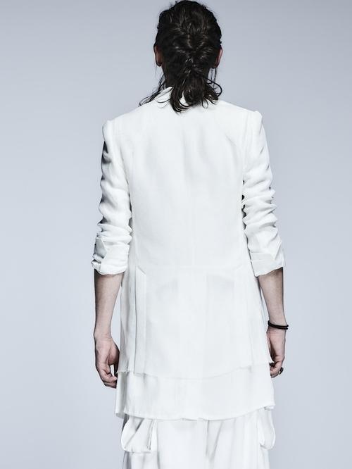 (予約品)3月入荷予定/kiryuyrik・キリュウキリュウ/KARAMI&Satin Layerd Long Jacket/White
