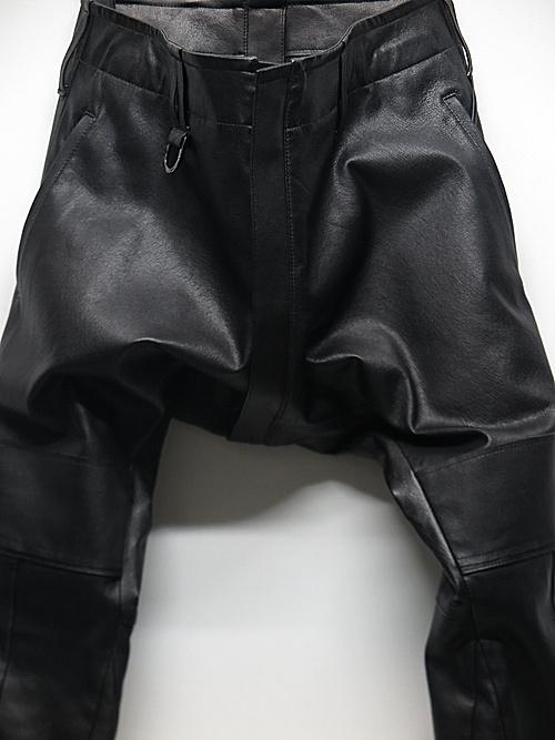 (予約品)9月入荷予定/kiryuyrik・キリュウキリュウ/Stretch Deer Skin Leather Saruel Pants/Black