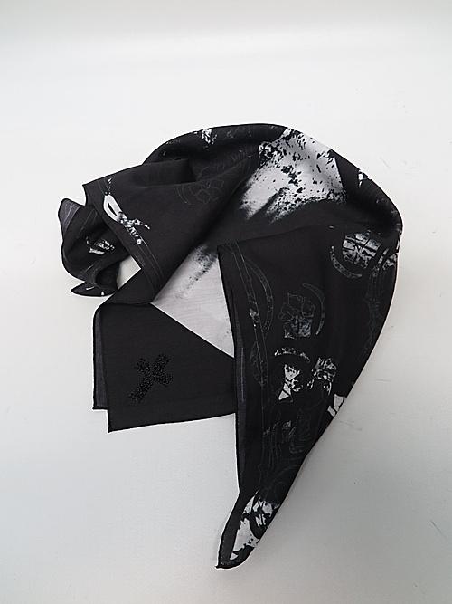 (予約品)1月入荷予定/kiryuyrik・キリュウキリュウ/Cotton Satin BANDANA/Black