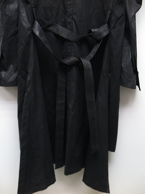 kiryuyrik・キリュウキリュウ/Coating Suede NoCollar Shoulder Jacket/BLACK