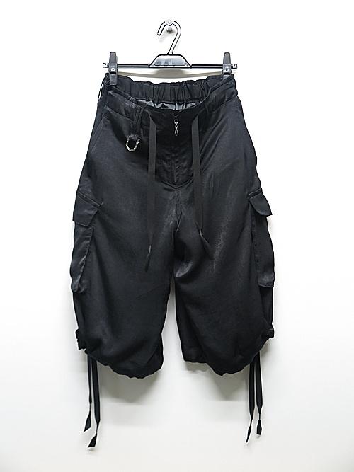 kiryuyrik・キリュウキリュウ/Satin Wide Cargo Pants/Black