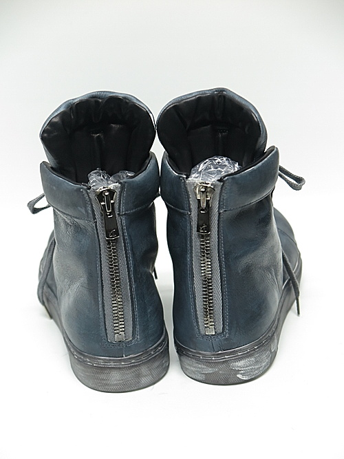 Portaille・ポルタユ/Hand dyed japanese steer Leather sneakers/gray