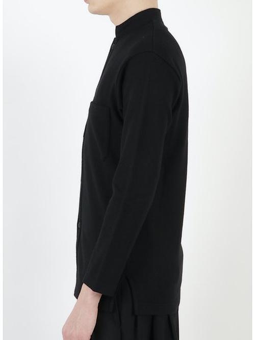Yohji Yamamoto・ヨウジヤマモト/スペシャルソフト紡毛天竺 RE スタンドカラーCD/ブラック