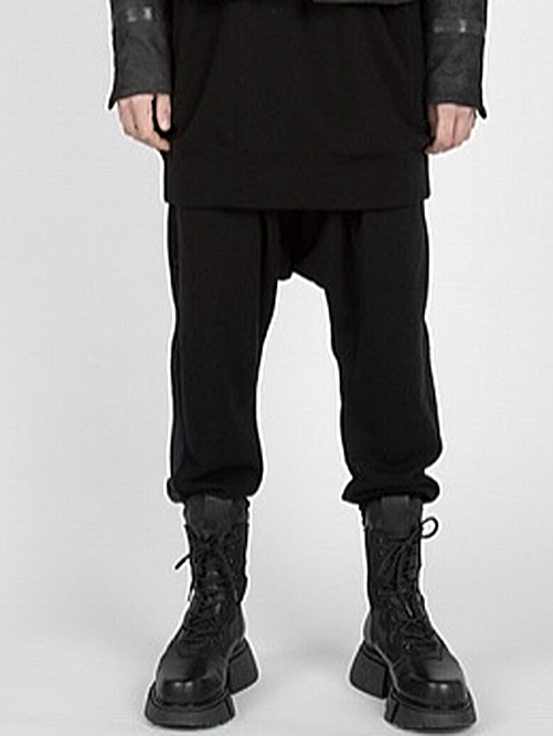 JULIUS・ユリウス/WO/PE DOUBLE FACE TROUSERS FOR MALE/BLACK