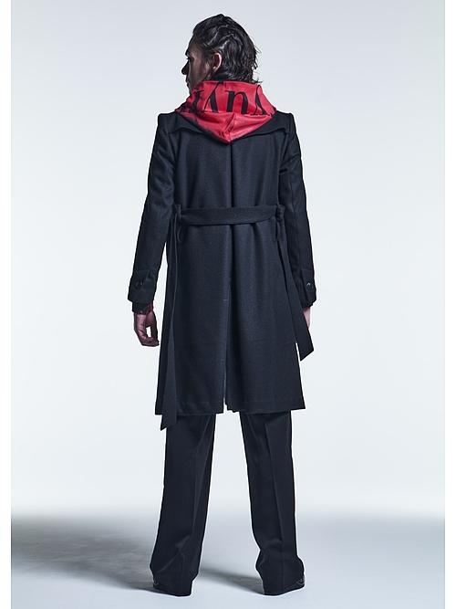 (予約品)10月入荷予定/kiryuyrik・キリュウキリュウ/Casimere Beaver Shawl Collar Coat/Black
