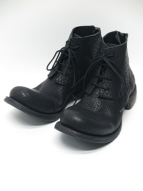 Portaille・ポルタユ/Bull shrink lacedup backzip shortboots/Black