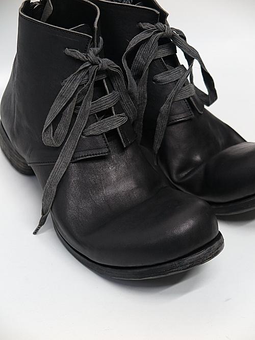 Portaille・ポルタユ/lacedup backzip shortboots Soft tanned horse(馬革) : Black
