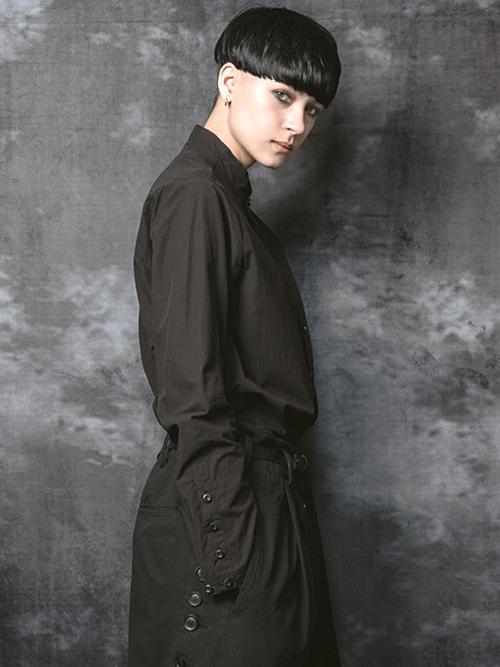 nude:masahiko maruyama・ヌード:マサヒコマルヤマ/コットンタイプライターSHIRT/BLACK.