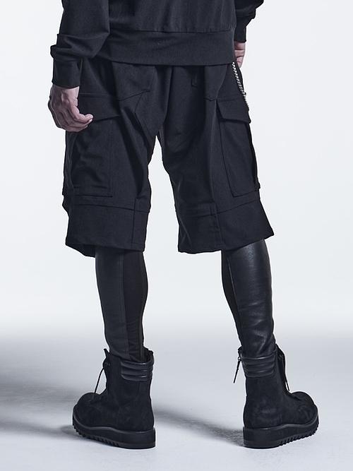 (予約品)10月入荷予定/kiryuyrik・キリュウキリュウ/High Tension Jersey Short Cargo Pants/Black