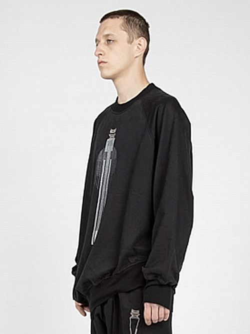 JULIUS・ユリウス/BRUSHED COTTON SWEAT CUT & SEWN FOR MALE/BLACK