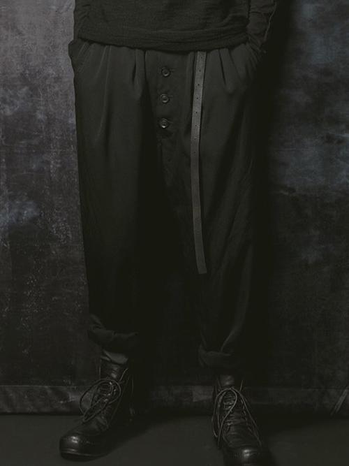 SALE40%OFF/nude:masahiko maruyama・ヌード:マサヒコマルヤマ/ウールツイルニドム加工2TUCK PANTS W/BELT/BLACK.