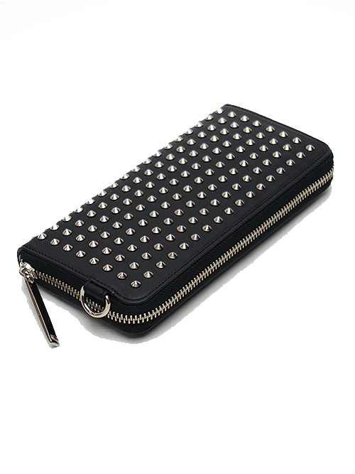PATRICK STEPHAN(パトリックステファン)/COW HIDE Leather long wallet 'all-studs' pointu・シルバー.