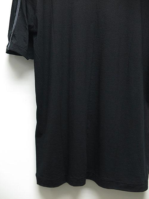 The Viridi-anne・ザ ヴィリディアン/綿/カシミヤ 半袖 後身頃ラインT BLACK.