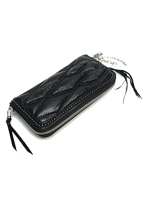 (予約品)2〜3月入荷/KMRii・ケムリ/Goat Skin Leather WR- Domino Wallet/BLACK