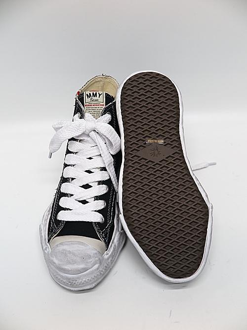 MIHARA YASUHIRO・ミハラヤスヒロ/HANK HIGH/ original distressed effect sole canvas High-Top sneaker/BLK