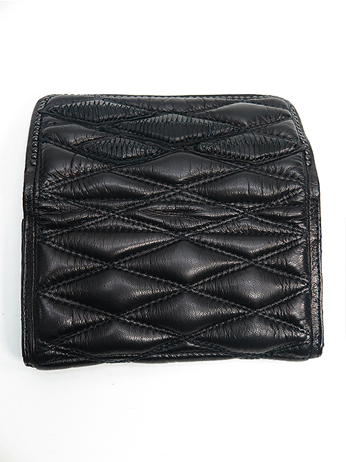 SALE20%OFF/KMRii・ケムリ/Goat Skin Leather WB- Domino Wallet/BLACK.