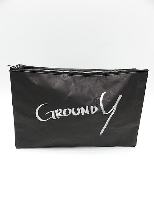Ground Y・グラウンドワイ・紙 クラッチバッグ/ブラック