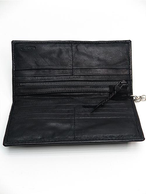 SALE20%OFF/KMRii・ケムリ/Goat Skin Leather WL- Domino Wallet/BLACK.